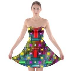 Art Rectangles Abstract Modern Art Strapless Bra Top Dress