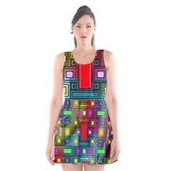 Art Rectangles Abstract Modern Art Scoop Neck Skater Dress