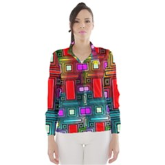Art Rectangles Abstract Modern Art Wind Breaker (Women)
