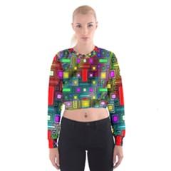 Art Rectangles Abstract Modern Art Women s Cropped Sweatshirt