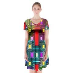 Art Rectangles Abstract Modern Art Short Sleeve V-neck Flare Dress