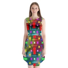 Art Rectangles Abstract Modern Art Sleeveless Chiffon Dress