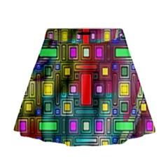 Art Rectangles Abstract Modern Art Mini Flare Skirt