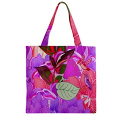 Abstract Flowers Digital Art Zipper Grocery Tote Bag