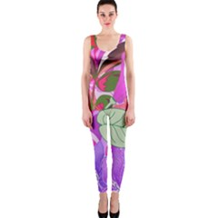 Abstract Flowers Digital Art Onepiece Catsuit
