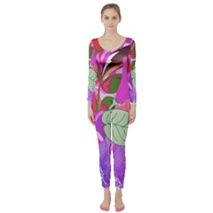 Abstract Flowers Digital Art Long Sleeve Catsuit