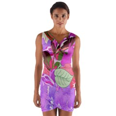 Abstract Flowers Digital Art Wrap Front Bodycon Dress