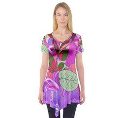 Abstract Flowers Digital Art Short Sleeve Tunic