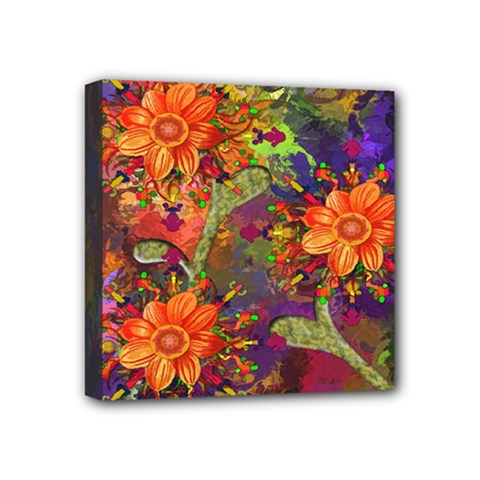Abstract Flowers Floral Decorative Mini Canvas 4  x 4