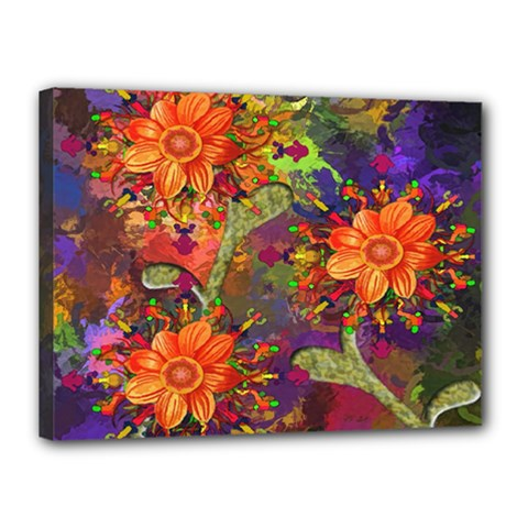 Abstract Flowers Floral Decorative Canvas 16  x 12