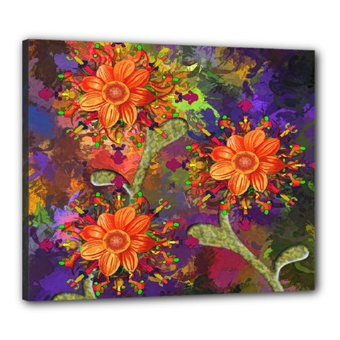 Abstract Flowers Floral Decorative Canvas 24  x 20
