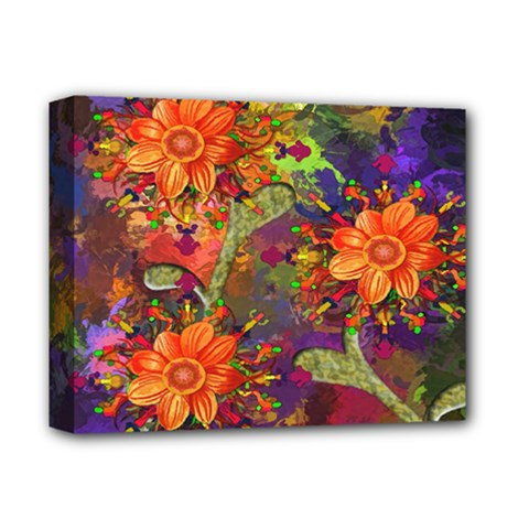 Abstract Flowers Floral Decorative Deluxe Canvas 14  x 11