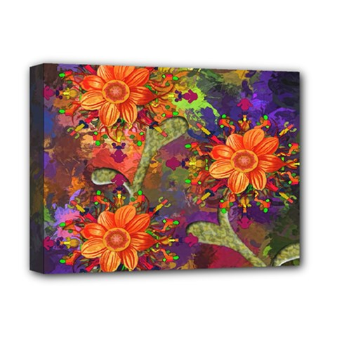 Abstract Flowers Floral Decorative Deluxe Canvas 16  x 12