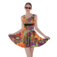 Abstract Flowers Floral Decorative Skater Dress