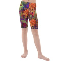 Abstract Flowers Floral Decorative Kids  Mid Length Swim Shorts