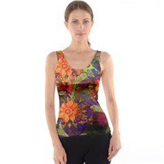 Abstract Flowers Floral Decorative Tank Top
