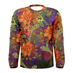 Abstract Flowers Floral Decorative Men s Long Sleeve Tee