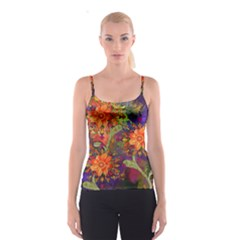 Abstract Flowers Floral Decorative Spaghetti Strap Top