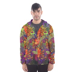 Abstract Flowers Floral Decorative Hooded Wind Breaker (Men)