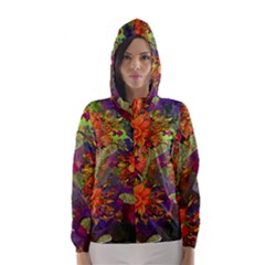 Abstract Flowers Floral Decorative Hooded Wind Breaker (women)