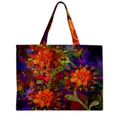 Abstract Flowers Floral Decorative Zipper Mini Tote Bag