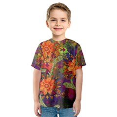 Abstract Flowers Floral Decorative Kids  Sport Mesh Tee