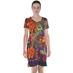 Abstract Flowers Floral Decorative Short Sleeve Nightdress