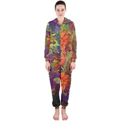 Abstract Flowers Floral Decorative Hooded Jumpsuit (Ladies)