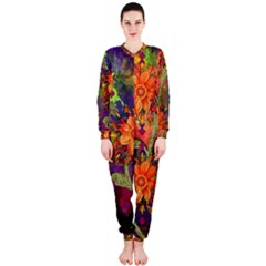 Abstract Flowers Floral Decorative OnePiece Jumpsuit (Ladies)