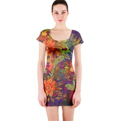 Abstract Flowers Floral Decorative Short Sleeve Bodycon Dress