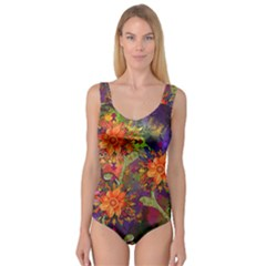 Abstract Flowers Floral Decorative Princess Tank Leotard