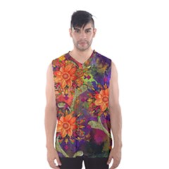 Abstract Flowers Floral Decorative Men s Basketball Tank Top