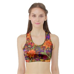 Abstract Flowers Floral Decorative Sports Bra With Border