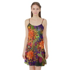 Abstract Flowers Floral Decorative Satin Night Slip