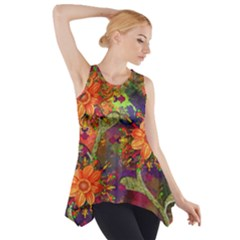 Abstract Flowers Floral Decorative Side Drop Tank Tunic