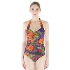 Abstract Flowers Floral Decorative Halter Swimsuit