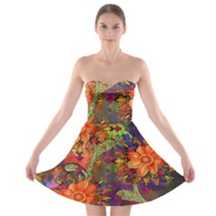 Abstract Flowers Floral Decorative Strapless Bra Top Dress