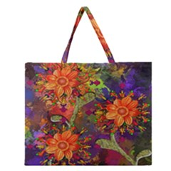 Abstract Flowers Floral Decorative Zipper Large Tote Bag