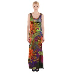 Abstract Flowers Floral Decorative Maxi Thigh Split Dress