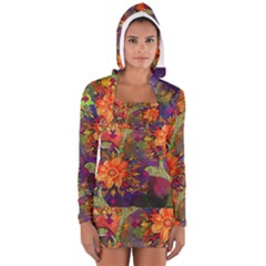 Abstract Flowers Floral Decorative Women s Long Sleeve Hooded T Shirt