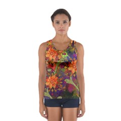 Abstract Flowers Floral Decorative Women s Sport Tank Top