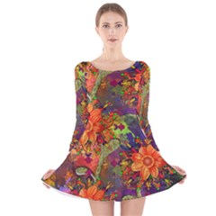 Abstract Flowers Floral Decorative Long Sleeve Velvet Skater Dress