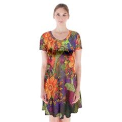 Abstract Flowers Floral Decorative Short Sleeve V-neck Flare Dress