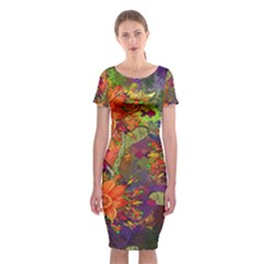 Abstract Flowers Floral Decorative Classic Short Sleeve Midi Dress