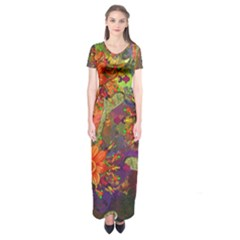 Abstract Flowers Floral Decorative Short Sleeve Maxi Dress
