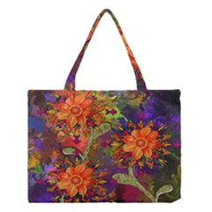 Abstract Flowers Floral Decorative Medium Tote Bag