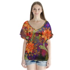 Abstract Flowers Floral Decorative Flutter Sleeve Top