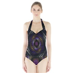 Abstract Fractal Art Halter Swimsuit
