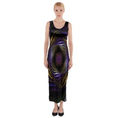 Abstract Fractal Art Fitted Maxi Dress