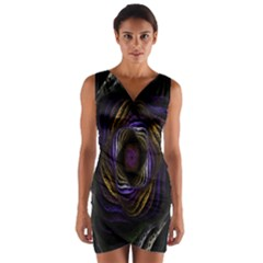Abstract Fractal Art Wrap Front Bodycon Dress